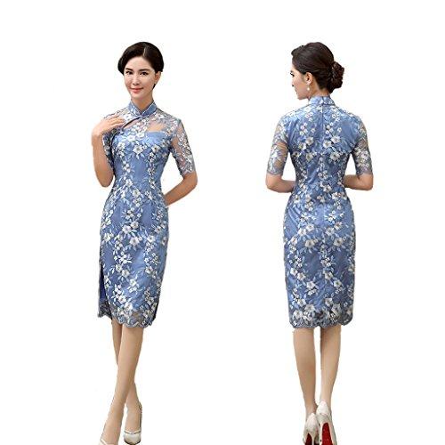 Qipao Retro cheongsam Short cheongsam Dress Short sleeves Slim dress Summer. by YY-Chipao