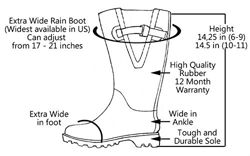 Jileon Extra Wide Calf Rubber Navy Blue Rain Boots for Women-Widest Fit Boots in The US-up to 21 inch Calves-Wide in The Foot and Ankle-Durable Boots for All Weathers- 11 (XW) by Jileon (Image #5)