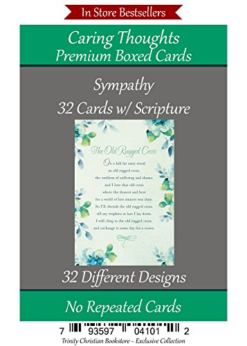 Sympathy Cards (No Repeated Cards) 32 Design Christian / Religious Greeting Card Assortment ~ Scripture in every card