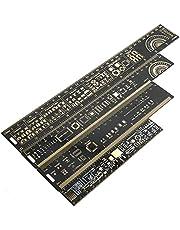 Mayata 1Set/4PCS 15cm 20cm 25cm 30cm Multifunctional PCB Ruler Measuring Tool Resistor Capacitor Chip IC SMD Diode Transistor Package 180 Degrees