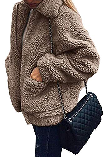 Womens Faux Shearling Coat Shaggy Oversized Jacket Sleeve Lapel Zip up Faux Casual Fashion Cardigan Coat (Khaki,M)