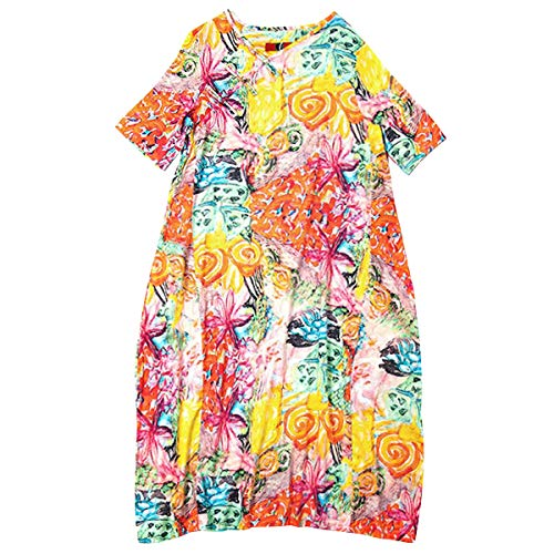 Q32326 Baumwolle Gelb Kleider Damen DISSA Party Kurzarm Kleid Lose Feiertagskleid Maxi Retro Cocktail twdnqBp7