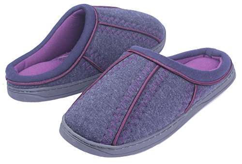 AgeeMi Shoes Ladies Lightweight Suede Pull On Closed Toe Warm Bedroom Slippers Purple pGUBV
