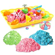 Motion Sand, 1.98lb. Shimmering sand of kids (include 3 color), Cake Playset, Play Sand with Sand Molds