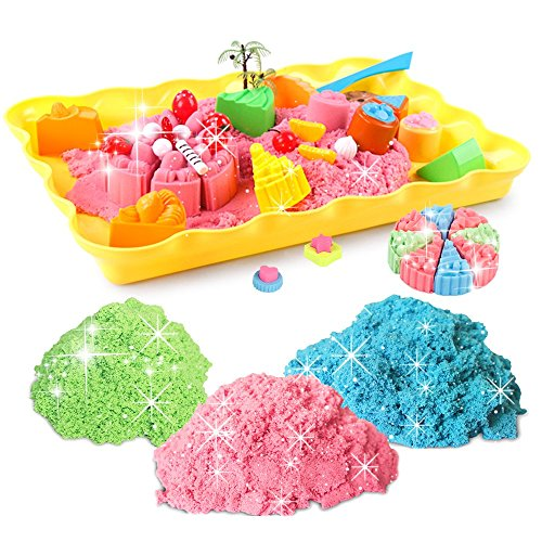 Motion Sand, 1.98lb. Shimmering sand of kids (include 3 color), Cake Playset, Play Sand with Sand (Kids Play Sand)