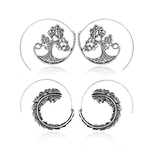 Zealmer Punk Bohemian Geometric Dangle Earrings for Women Golden -