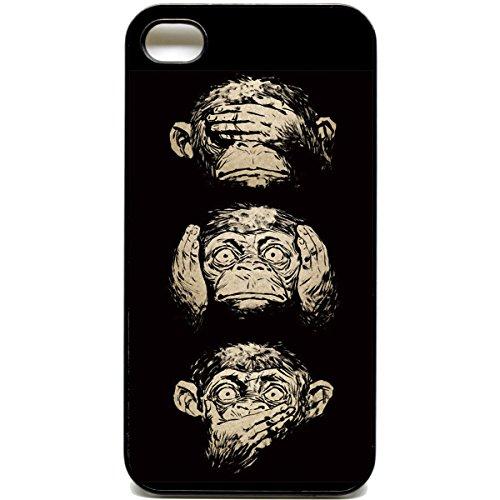 iPhone 44S NICHT Hören Nicht sprechen Zitat Monkey Telefon Fall