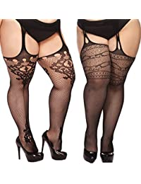 1bb0f7052 Plus Size Stockings for Women Suspender Pantyhose Fishnet Tights Black 2  Pairs Thigh High Stocking (