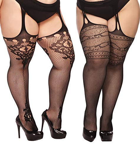 TGD Plus Size Stockings for Women Suspender Pantyhose Fishnet Tights Black 2 Pairs Thigh High Stocking (Fit US 8-16)(Black 04) -