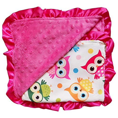 So Sydney Reversible Soft Textured Minky Dot Baby Infant Toddler Blanket with Satin Trim (Wise Owl)