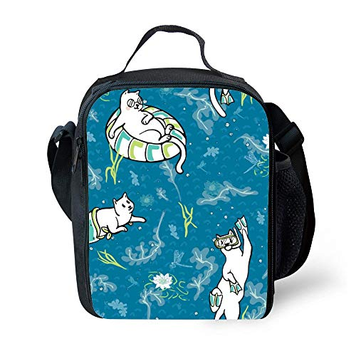 SARA NELL Kids Lunch Box Insulated Ocean Aqua Magical Purrmaid Diving Cats Lunch Bag Large Lunch Boxes Cooler Meal Prep Lunch Tote With Shoulder Strap For Boys Girls Teens Women Adults