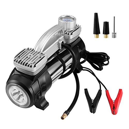 LESHP 100PSI Double Cylinder Air Compressor Premium Electric 12V DC With LED Light,Portable Tire Inflator for Car, Bicycle or Basketball (Best Bike Lights For Unlit Roads)