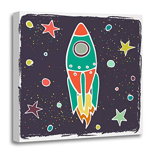 Emvency Canvas Prints Square 12x12 Inches Blue Science Cartoon Rocket and Stars Childish Doodle Space Colorful Aliens Cute Decoration Wooden Frame Pictures Framed Wall - Alien Pictures