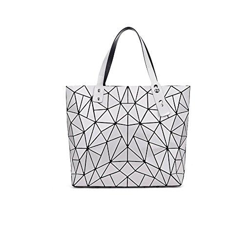 YXPNU Damas Bolsa Geometría Moda Hombro Portátil Casual Tendencia Compras Silver