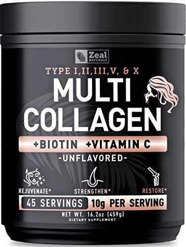 Premium Collagen Peptides Powder (1, 2, 3, 5 & 10) Multi Collagen Protein + Vitamin C + Biotin + Hyaluronic Acid - #1 Collagen Powder for Women Hair Skin and Nails - Marine, Bovine, Chicken & Eggshell