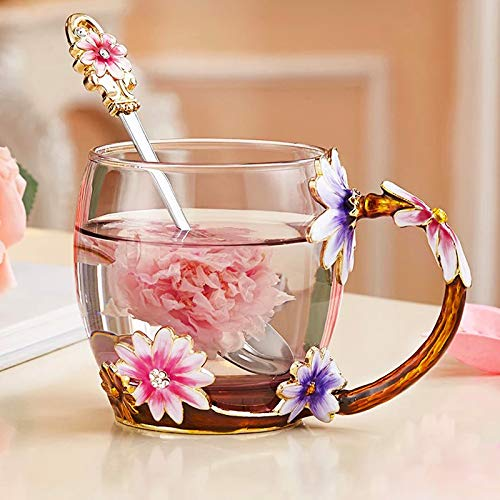 Friends Sister Glass Coffee Mug with Spoon Set 12 Ounce LeadFree Handmade Wife Girlfriend Best Tea Cup Flower Enamel Design Gifts for Mom Mothers Day Gifts for her