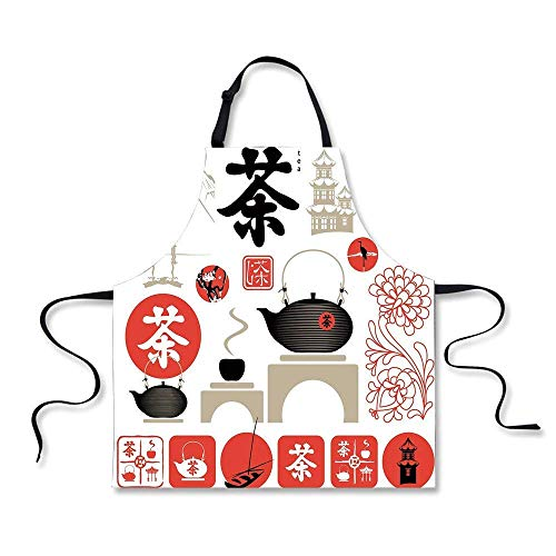 (Ashasds Chef Apron Tea Party Japanese Design with Cultural Elements Flowers Fuji Mountain Tea Pot Vermilion Black Beige for Women Men Waitress Crafting Gardening Cook Barber Pinafore )