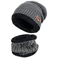 ZZLAY Kinder Winter Dicke Beanie Hut Schal Set Slouchy Warmen Schnee Knit Skull Cap