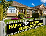 Colormoon Happy 75th Birthday Banner, 75th Birthday Party Decoration, 75th Birthday Supplies Yard Decoration, Black and Yellow, Outdoor Indoor (9.8 x 1.5 feet)