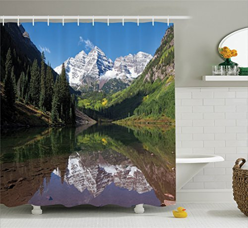 Ambesonne Lake House Decor Collection, Snow Covered Maroon Bells in Autumn Trees Mountain Reflection on Lake Scenery, Polyester Fabric Bathroom Shower Curtain Set with Hooks, Green Blue (Maroon Bells)