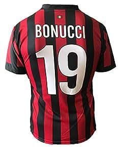 Camiseta de fútbol del A.C. Milán, Bonucci 19,réplica autorizada de la temporada 2017-2018, para niño (tallas 2,4, 6,8, 10, 12) y adulto (S, M, L, XL)