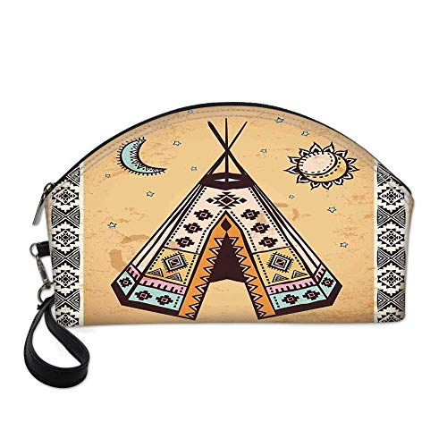 Tribal Small Portable Cosmetic Bag,Ethnic Tent with Ancient Symbols Cultural Unique Bohemian Free Spirit Design For Women,One size
