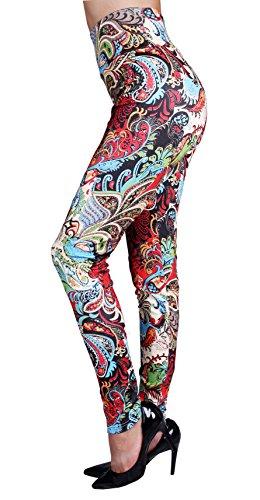 IRELIA Winter Womens Warm Printed Fleece Lined Leggings High Waist Tights - Regular and Plus Size Black Red Phoenix 14(L)-22(XXL)