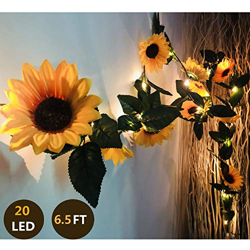 MeeDoo 20 LED Artificial Sunflower Garland String Lights, 6.56ft Silk Sunflower Vines with 9 Flower Heads Battery Operated Fairy Night Lights for Indoor Bedroom Wedding Decor Home Garden Holiday from MeeDoo
