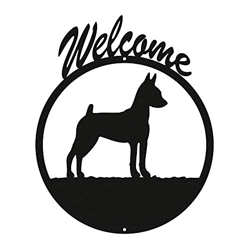 (MINIATURE PINSCHER Black Metal Welcome Sign ~NEW~)