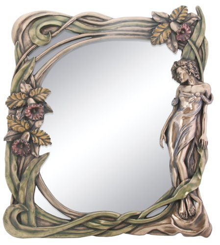 Art Nouveau Orchid Mirror Display Decoration