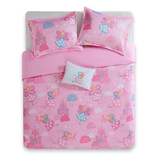 Fairies Twin Quilt - Twin/Twin XL Bedding for Girls - Elfie Kids Comforter Sets Twin - Pink Flying Princess Fairy and Castle - Cute Girls Bedding Sham Decor Pillow incl.