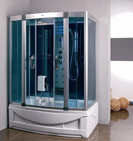 Jetted Tub Shower Combo.Steam Shower Room With Deep Whirlpool Tub Heater 1500w 9004