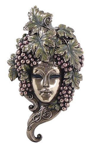 11.75 Inch Grapes on Elaborate Bronze Hued Mask Wall Plaque Decor Gift