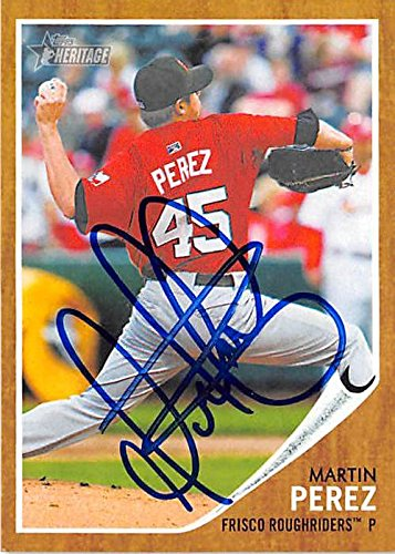 Martin Perez autographed baseball card (Texas Rangers Frisco Rough Riders) 2011 Topps Heritage Minors #184 Rookie ()
