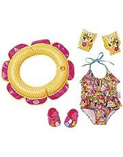 Zapf Creation 825891 BABY born zwemplezier set bestaande uit badpak, zwemband, clogs met pinnen en zwemvleugels, poppenaccessoires 43 cm, kleurrijk