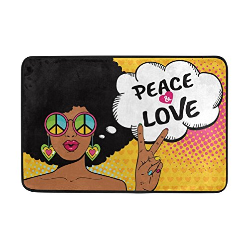 ALAZA 23.6x15.7 inch Non-Slip Polyester Doormat Sexy African American Woman With Love And Peace Washable Entrance Rug for Inside Floor Living Room Toilet Patio Garage