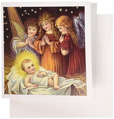(3dRose Baby Jesus and Three Young Angels Vintage Artwork, Greeting Cards, Set of 6 (gc_165421_1))