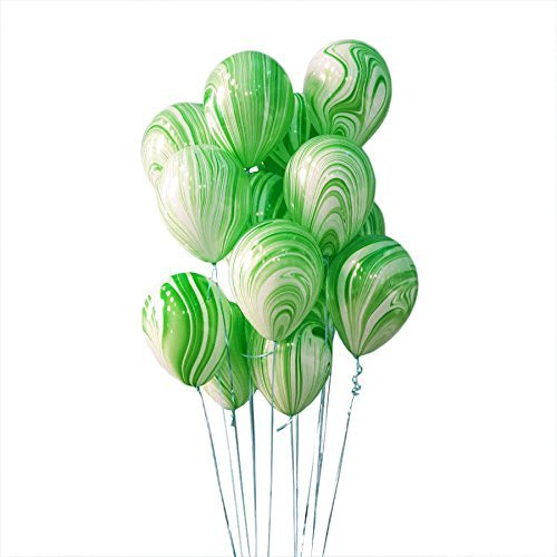 AnnoDeel 50pcs 12inch Marble Latex Balloons, Green White Rainbow Marble Balloons for Wedding Baby Birthday Party Balloon Decorations