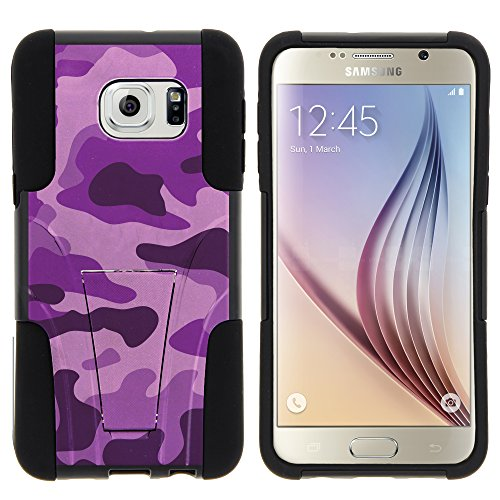 (MINITURTLE Case Compatible w/ Samsung Galaxy S6 Edge Plus Phone Case, Durable Hybrid STRIKE Impact Stand Case w/ Art Pattern Designs for Samsung Galaxy S6 VI Edge Plus Purple Camouflage)