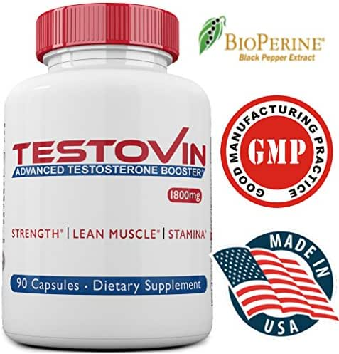 Testovin-Best Testosterone Booster For Men –New Natural Pills– Increased Stamina,Strength, Energy -Estrogen Blocker- Test Stack with ZMA,Tongkat Ali, Fenugreek Supplements