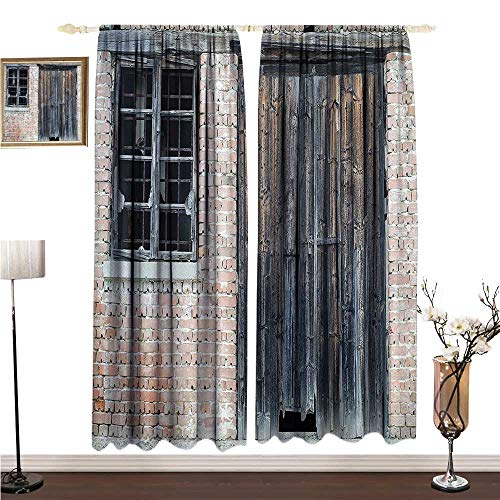 Anshesix Thermal Curtains Street Decor Red Brick Classic Abandoned British Home with a Wooden Door and Broken Window W120 xL84 Decorative Curtains for Living Room