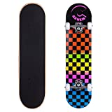 Cal 7 Complete 8 Inch Skateboard, Popsicle Style 5.25 Inch Trucks & 100A Wheels Kids & Adults (8' Rainbow)