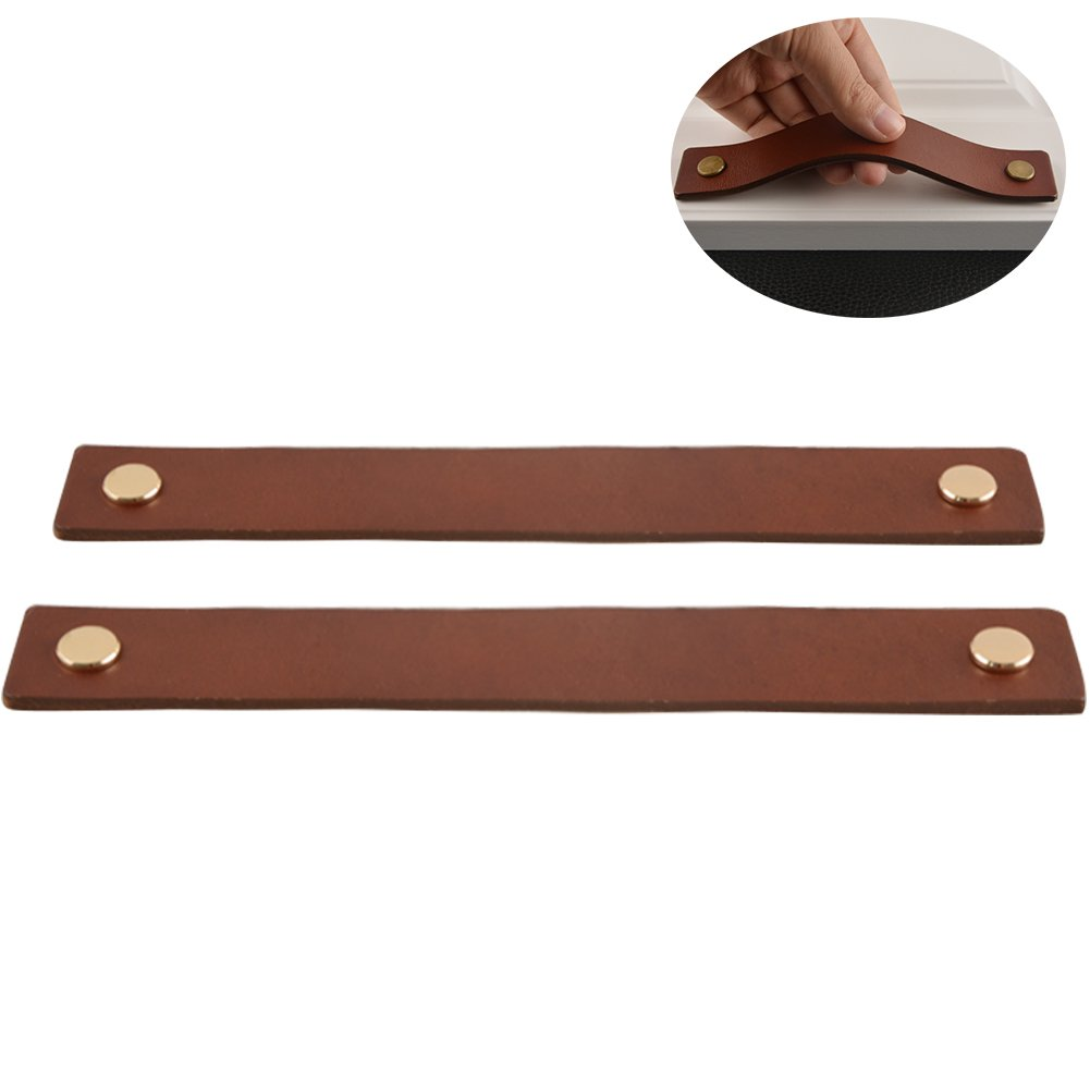 WINGOFFLY 2Pcs Genuine Leather Drawer Pulls Wardrobe Cabinet Knobs with Screw(Golden Copper Head/Hole Distance:6.30'')