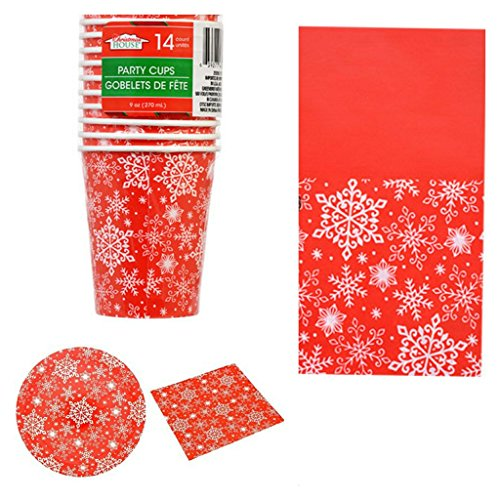 Christmas Party Disposable Table Ware 14 Count Set, With Red And White Snowflake Cups, Plates, Napkins And Flannel (Snowflake Plates And Cups)