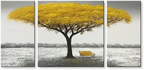 Winpeak Hand Painted Yellow Tree Large Modern Oil Painting Landscape Canvas Wall Art Abstract Picture Huge Contemporary Artwork Framed Ready to Hang 64 W x 32 H 16 x32 x2pcs, 32 x32 x1pc