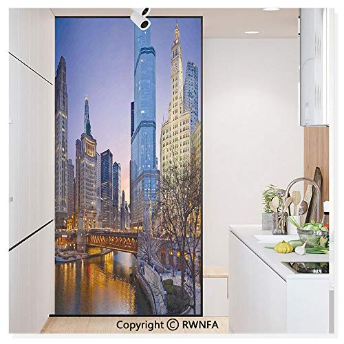 Window Door Sticker Glass Film,USA Chicago Cityscape with Rivers Bridge and Skyscrapers Cosmopolitan City Image Anti UV Heat Control Privacy Kitchen Curtains for Glass,30 x 59.8 inch,Multicolor