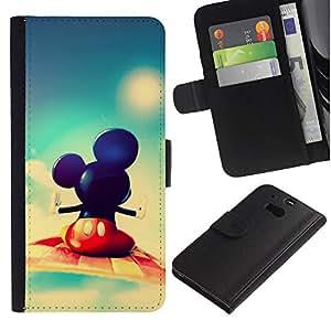 KLONGSHOP // Tirón de la caja Cartera de cuero con ranuras para tarjetas - Mickey Fly - HTC One M8 //