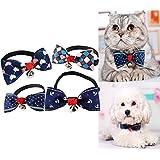Aidle Gentle Stylish Adjustable Dog Cat Pet Bow Cat Dog Rabbit Bow tie Collar Bell Necktie Collar-Set of 4