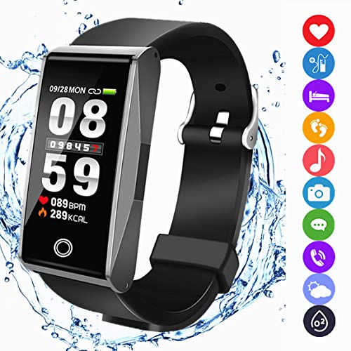 Fitness Tracker Watch Activity Smart Bracelet with Pedometer Heart Rate Blood Pressure Sleep Monitor Weather Music Control IP67 Waterproof for iOS Android Men Women -