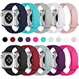 Haveda Bands Compatible with iWatch Band 38mm 40mm, Soft Silicone Sport Strap Wristband for Women Men with iWatch Series 4, Series 3, Series 2, Series 1, 10PACK, 38/40M/L